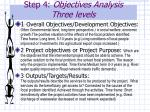 step 4 objectives analysis three levels
