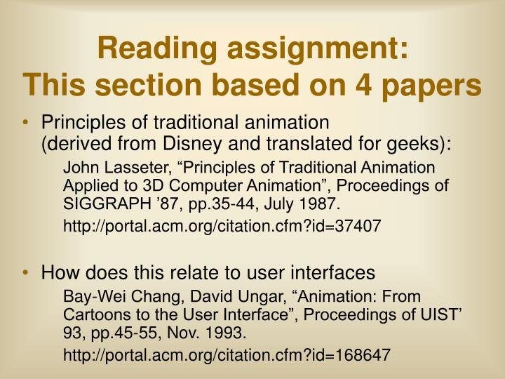 Reading assignment this section based on 4 papers