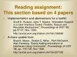 reading assignment this section based on 4 papers3