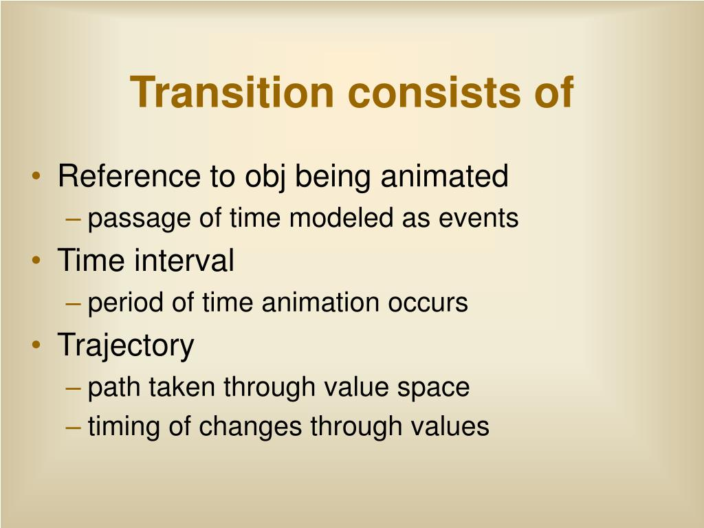 Transition consists of