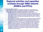 regional activities and capacities available through wmo network rsmcs and rtcs