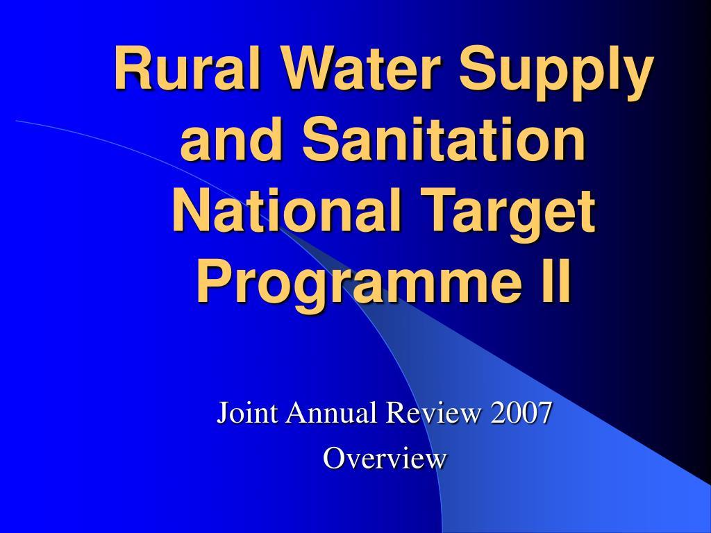 rural water supply and sanitation national target programme ii l.