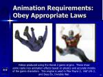 animation requirements obey appropriate laws23