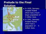 prelude to the final solution55