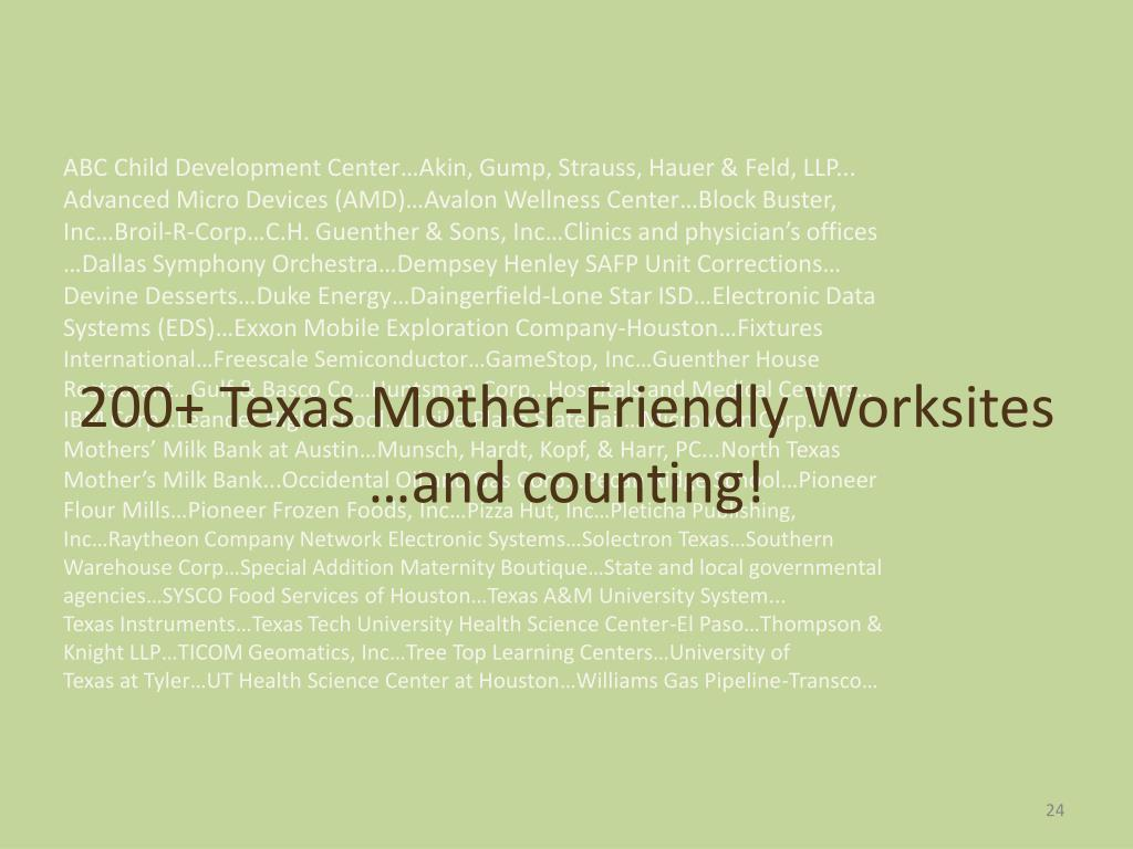 200+ Texas Mother-Friendly Worksites