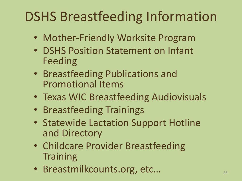 DSHS Breastfeeding Information