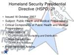 homeland security presidential directive hspd 21
