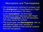 mesosphere and thermosphere