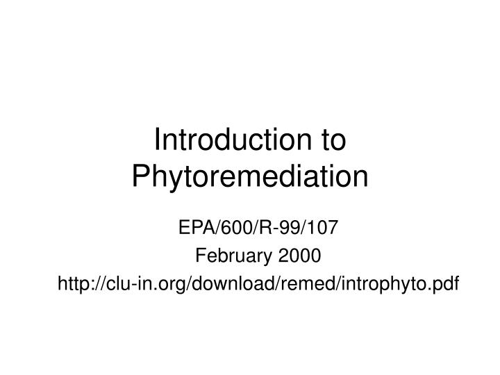 introduction to phytoremediation n.