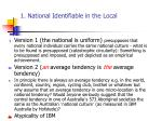 1 national identifiable in the local
