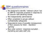 ibm questionnaires