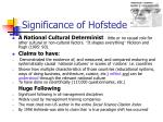 significance of hofstede
