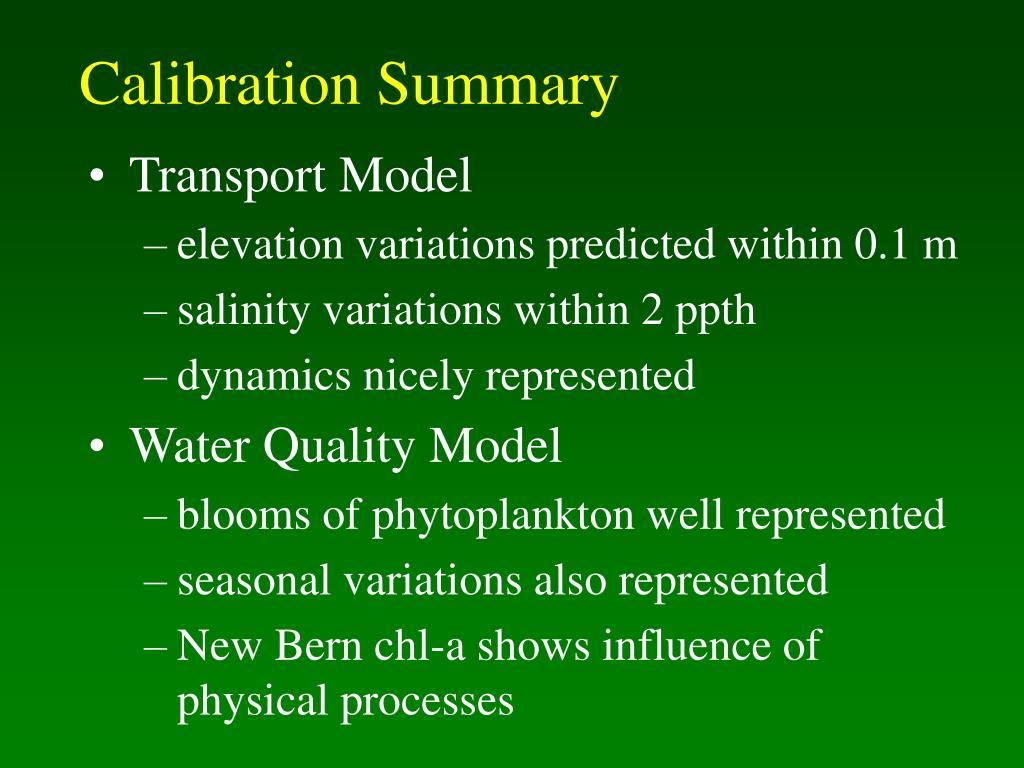 Calibration Summary
