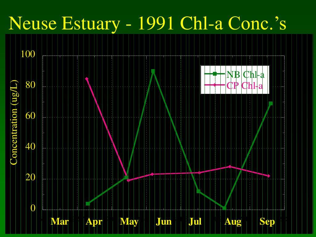Neuse Estuary - 1991 Chl-a Conc.'s