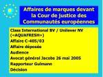affaires de marques devant la cour de justice des communaut s europ ennes174