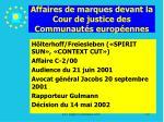 affaires de marques devant la cour de justice des communaut s europ ennes179