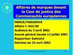 affaires de marques devant la cour de justice des communaut s europ ennes192