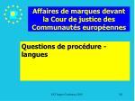 affaires de marques devant la cour de justice des communaut s europ ennes201