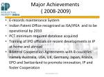 major achievements 2008 2009