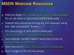 msdn webcast resources