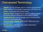 claim based terminology