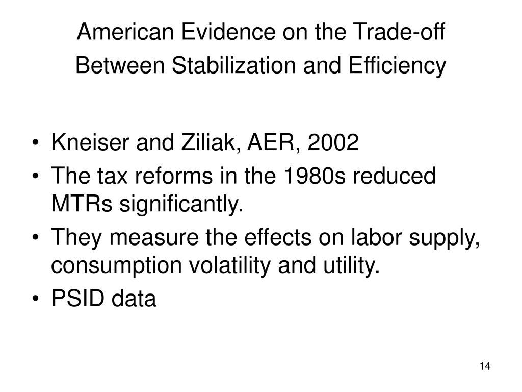 American Evidence on the Trade-off Between Stabilization and Efficiency