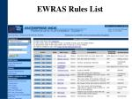 ewras rules list