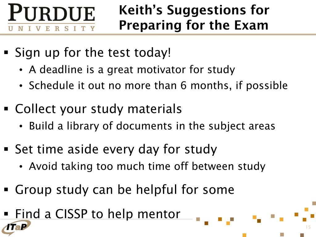 Keith's Suggestions for Preparing for the Exam