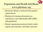 population and health infoshare www phishare org