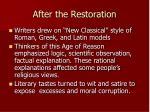 after the restoration