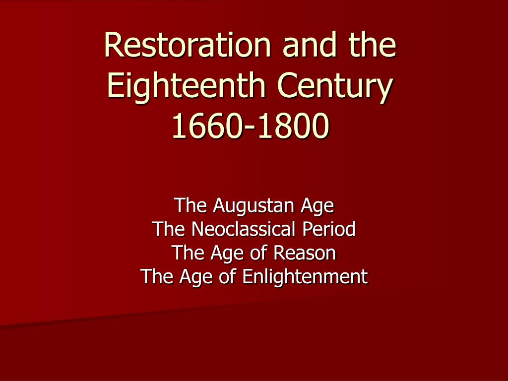 restoration and the eighteenth century 1660 1800 l.