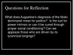 questions for reflection34