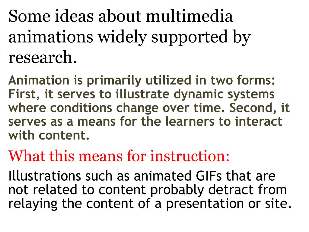 some ideas about multimedia animations widely supported by research l.