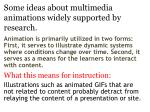 some ideas about multimedia animations widely supported by research