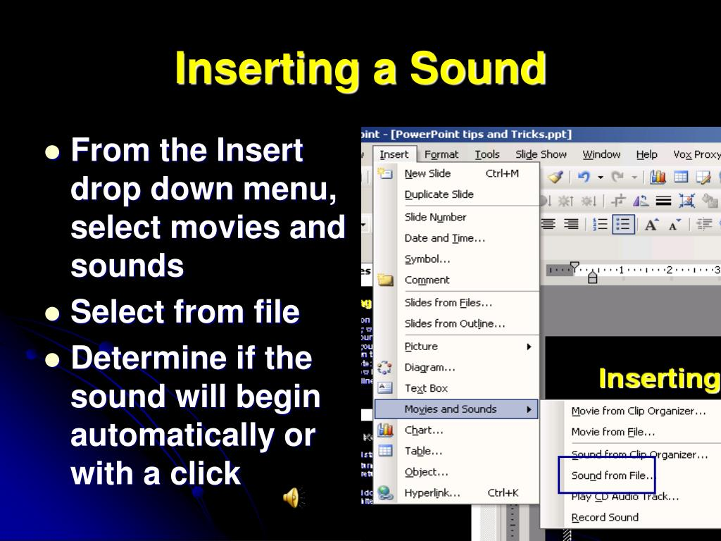 Inserting a Sound