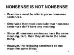 nonsense is not nonsense