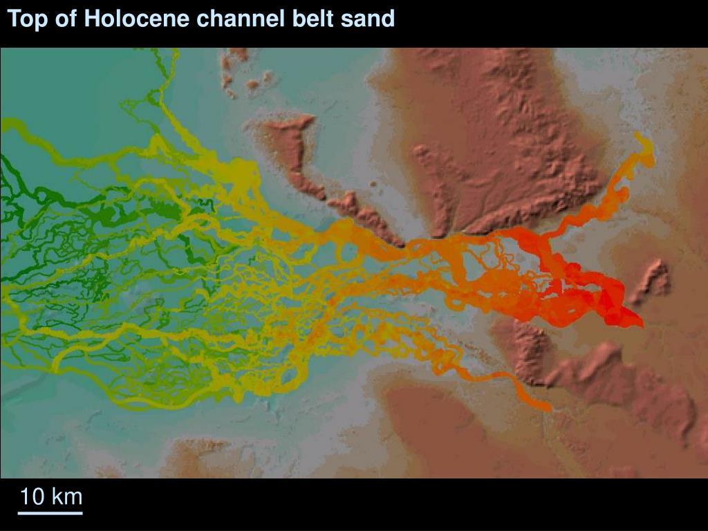 Top of Holocene channel belt sand