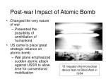 post war impact of atomic bomb