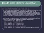 health care reform legislation