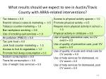 what results should we expect to see in austin travis county with arra related interventions
