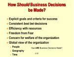 how should business decisions be made