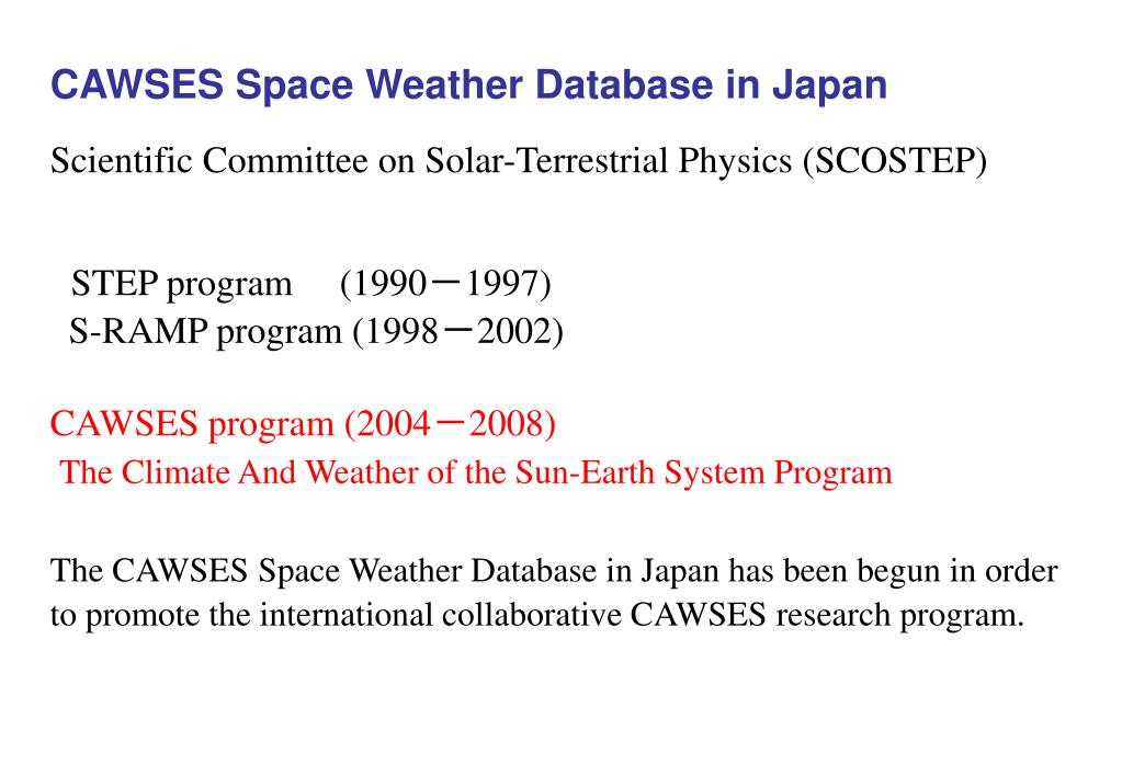 CAWSES Space Weather Database in Japan