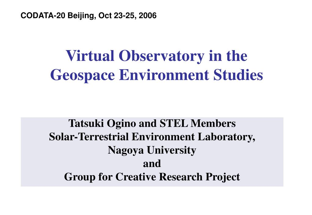 virtual observatory in the geospace environment studies l.