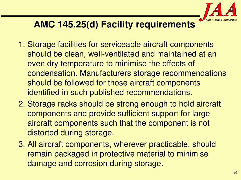 AMC 145.25(d) Facility requirements