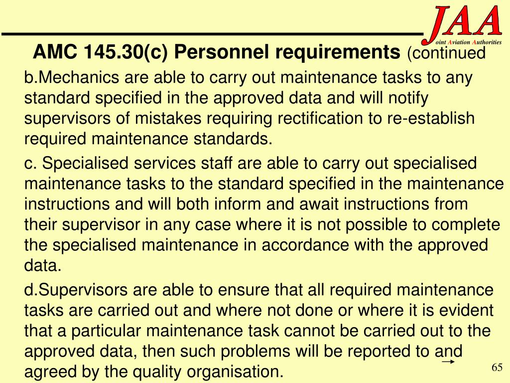 AMC 145.30(c) Personnel requirements