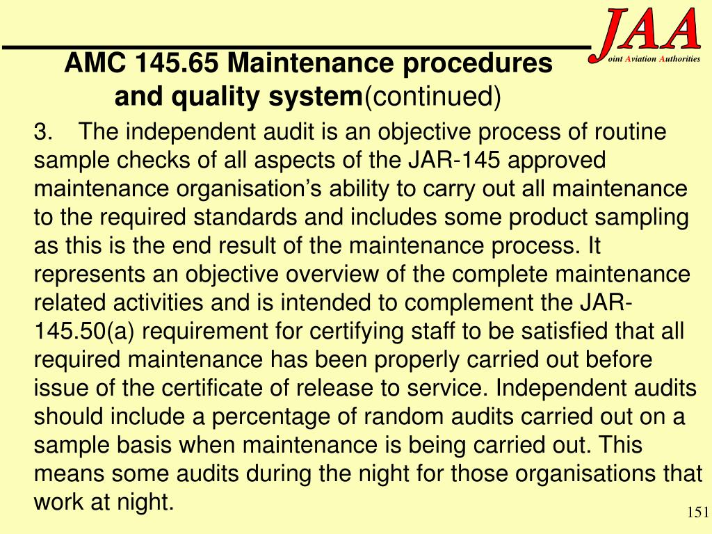 AMC 145.65 Maintenance procedures and quality system