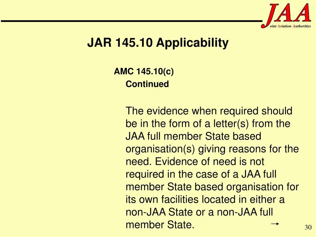 JAR 145.10 Applicability