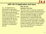 jar 145 15 application and issue