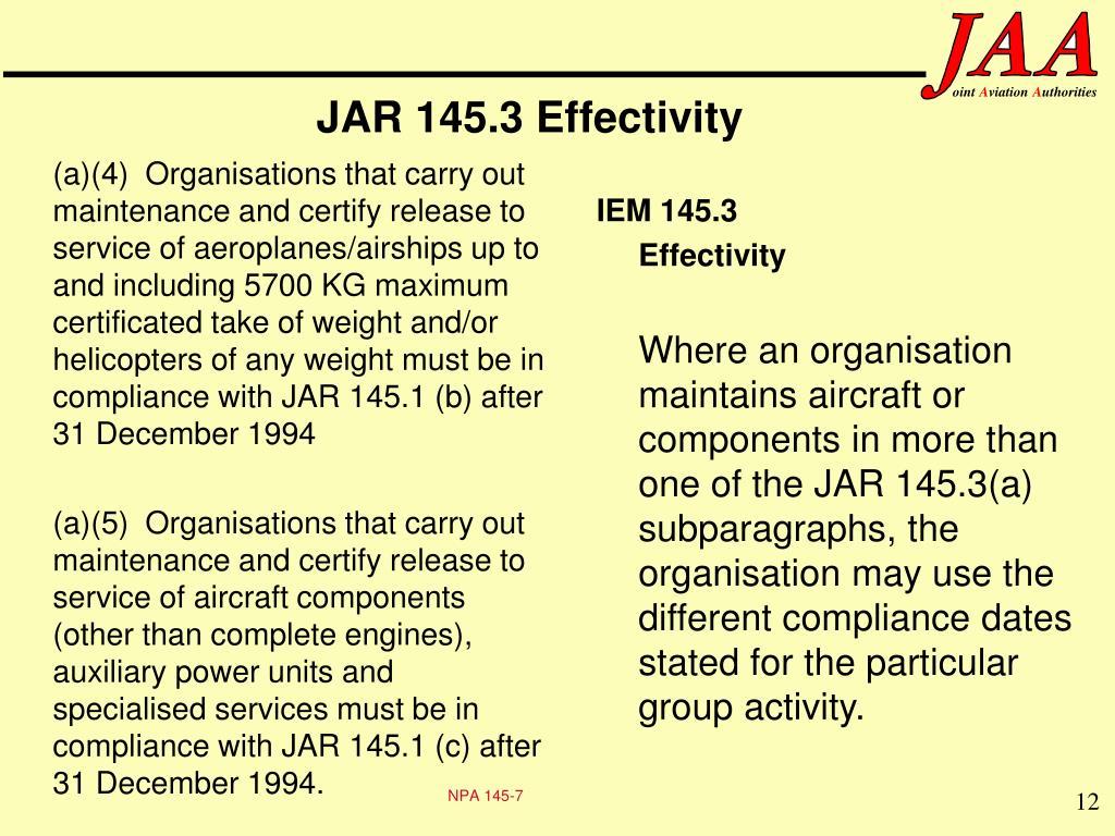 JAR 145.3 Effectivity