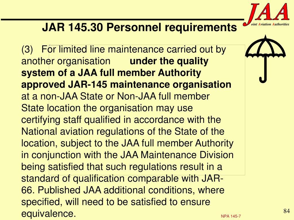 JAR 145.30 Personnel requirements